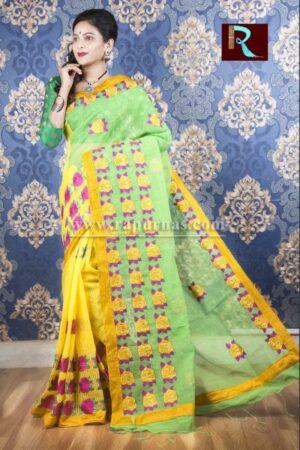 Kachhi Kathiawari work on BD Cotton Saree of awesome design