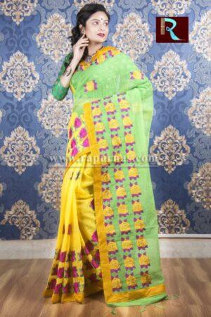 Kachhi Kathiawari work on BD Cotton Saree of awesome design1