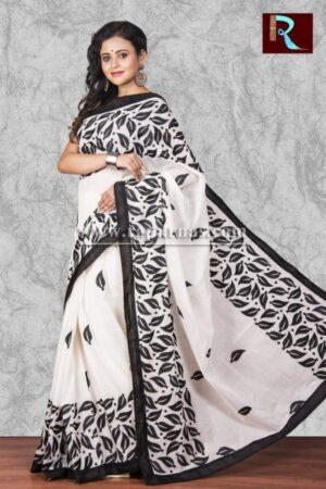 Kachhi Kathiawari work on BD Cotton Saree of black and white combination