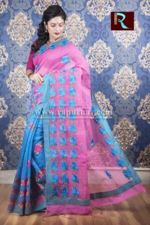 Kachhi Kathiawari work on BD Cotton Saree of blue and purple combo
