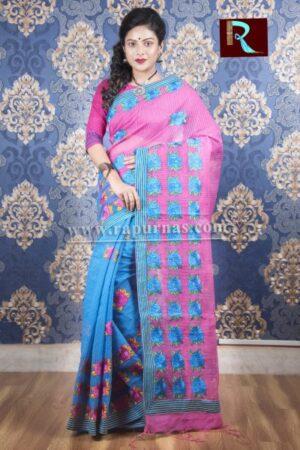 Kachhi Kathiawari work on BD Cotton Saree of blue and purple combo1