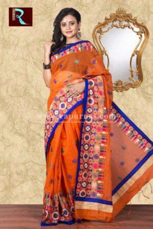 Kachhi Kathiawari work on BD Cotton Saree of exclusive shade and design