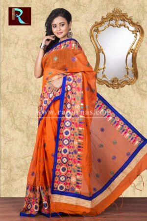 Kachhi Kathiawari work on BD Cotton Saree of exclusive shade and design1