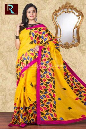 Kachhi Kathiawari work on BD Cotton Saree of leafy design