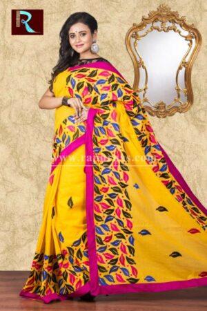 Kachhi Kathiawari work on BD Cotton Saree of leafy design1