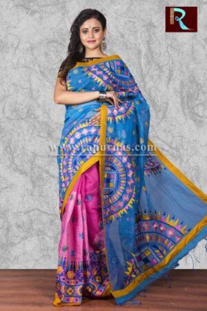 Kachhi Kathiawari work on BD Cotton Saree of multi-color design