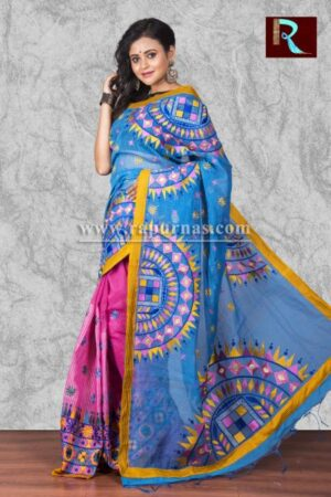 Kachhi Kathiawari work on BD Cotton Saree of multi-color design1