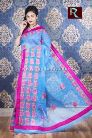 Kachhi Kathiawari work on BD Cotton Saree of purple and blue combo
