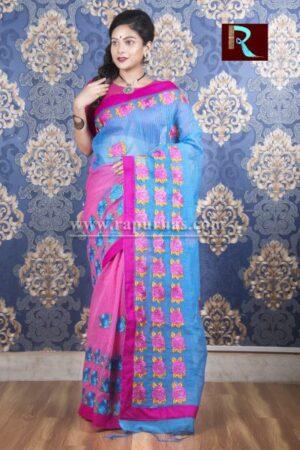 Kachhi Kathiawari work on BD Cotton Saree of purple and blue combo1