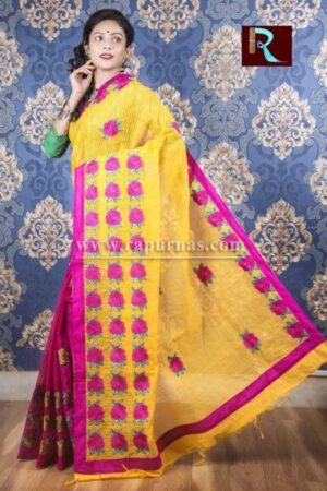 Kachhi Kathiawari work on BD Cotton Saree of purple and yellow combo