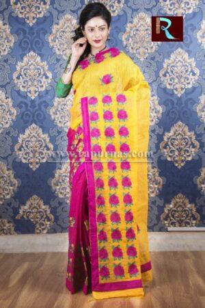 Kachhi Kathiawari work on BD Cotton Saree of purple and yellow combo1
