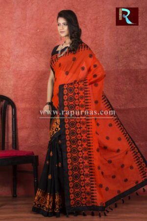 Kachhi Kathiawari work on BD Cotton Saree with Black and Orange combination