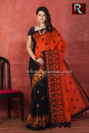 Kachhi Kathiawari work on BD Cotton Saree with Black and Orange combination1