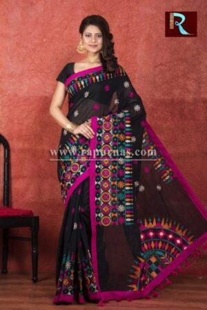 Kachhi Kathiawari work on BD Cotton Saree2