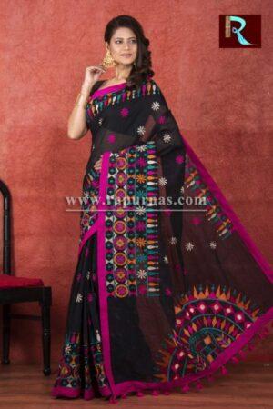 Kachhi Kathiawari work on BD Cotton Saree3