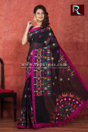 Kachhi Kathiawari work on Handloom Cotton Saree