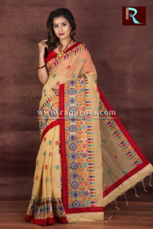 Kachhi Kathiawari work on Noil Cotton Saree of Rare Color and Design