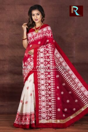 Kachhi Kathiawari work on Noil Cotton Saree with Deep Red Pallu