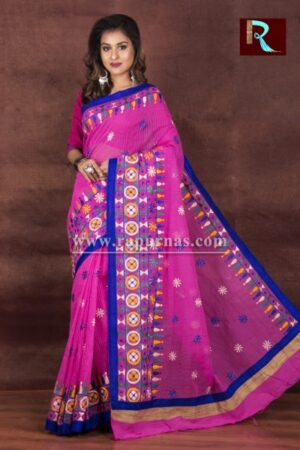 Kachhi Kathiawari work on Noil Cotton Saree with Pink and Blue combination
