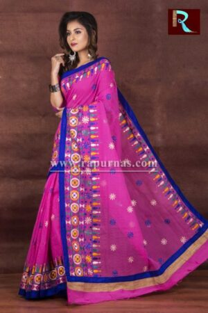 Kachhi Kathiawari work on Noil Cotton Saree with Pink and Blue combination1