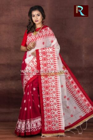 Kachhi Kathiawari work on Noil Cotton Saree with Red Pallu