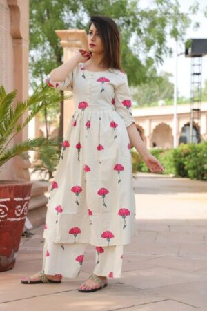 Kurti Palazzo set with flowers all over