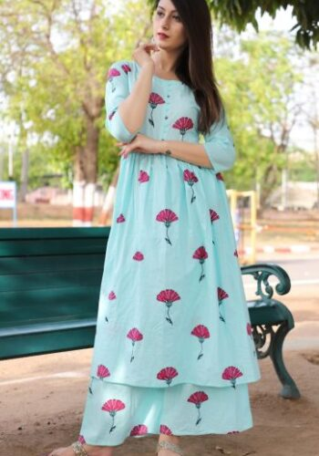 Light Blue Kurti Palazzo set
