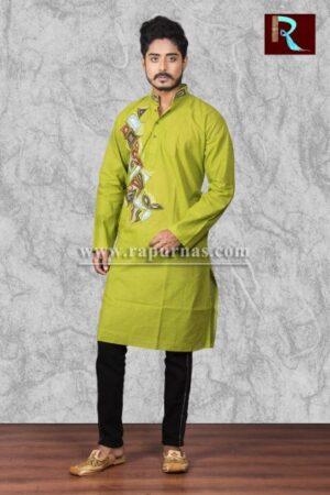 Light Green Cotton Kurta with Fabric painting