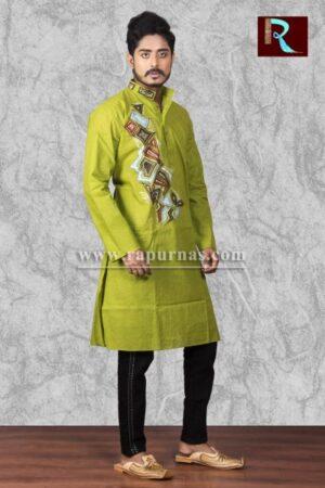 Light Green Cotton Kurta with Fabric painting1