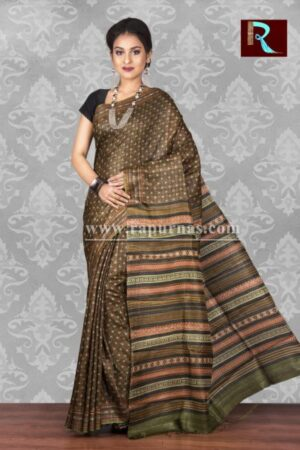 Printed Ghicha Silk Saree with an ethnic touch1