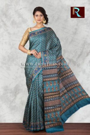 Printed Ghicha Silk Saree with aquatic blue body