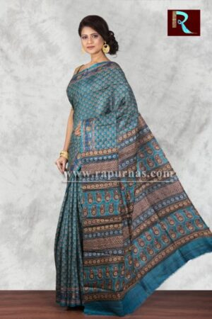 Printed Ghicha Silk Saree with aquatic blue body1