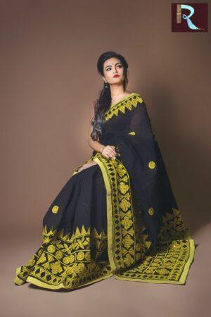 Pure Bangladeshi Cotton Saree with Cut Work Applique