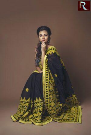 Pure Bangladeshi Cotton Saree with Cut Work Applique1