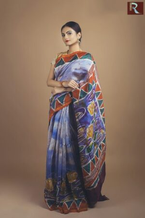 Pure Chanderi Silk Saree with Hand Batique