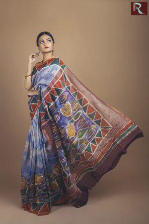 Pure Chanderi Silk Saree with Hand Batique1