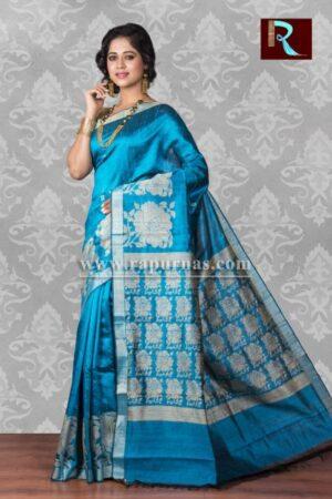 Pure Dopian SIlk Saree of sky blue color1