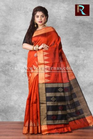 Pure Dopian SIlk Saree with temple Pallu