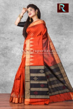 Pure Dopian SIlk Saree with temple Pallu1