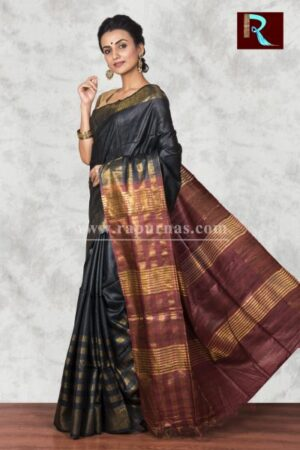 Pure Ghicha Silk Saree with unique color combo1