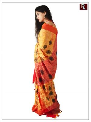 Pure Linen Cotton Saree with Stitchwork1