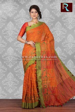 Pure Linen Saree with Orange body and Green Pallu