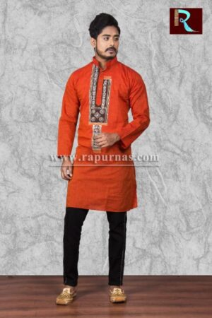 Red Cotton Kurta with Fabric painting1