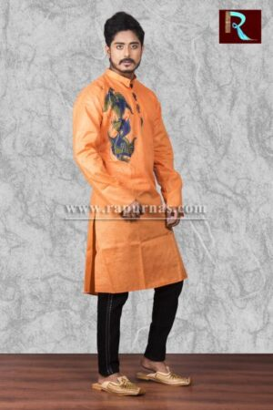 Saffron Cotton Kurta with Fabric painting