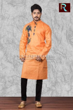 Saffron Cotton Kurta with Fabric painting1