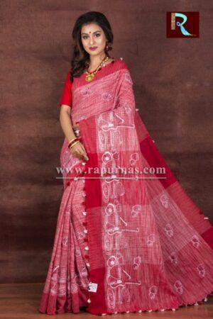 Threadwork on Pure Linen Saree