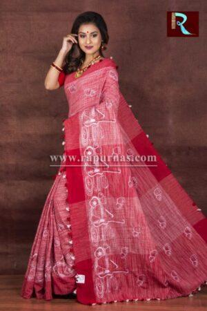 Threadwork on Pure Linen Saree1