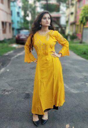 Yellow Rayon Kurti1