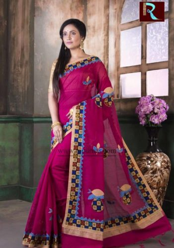Applique work on BD Cotton Saree of awesome design1