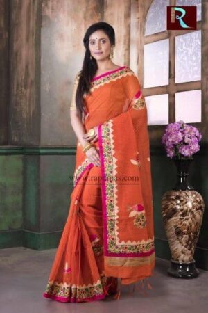 Applique work on BD Cotton Saree of orange color